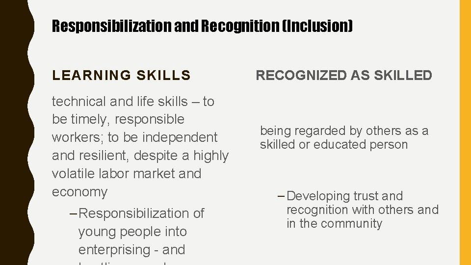 Responsibilization and Recognition (Inclusion) LEARNING SKILLS technical and life skills – to be timely,