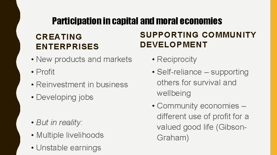 Participation in capital and moral economies CREATING ENTERPRISES SUPPORTING COMMUNITY DEVELOPMENT • New products