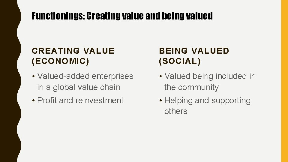Functionings: Creating value and being valued CREATING VALUE (ECONOMIC) BEING VALUED (SOCIAL) • Valued-added