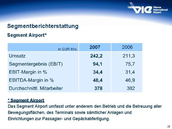 Segmentberichterstattung Segment Airport* * Segment Airport Das Segment Airport umfasst unter anderem den Betrieb