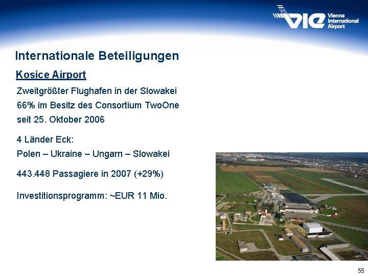 Internationale Beteiligungen Kosice Airport Zweitgrößter Flughafen in der Slowakei 66% im Besitz des Consortium