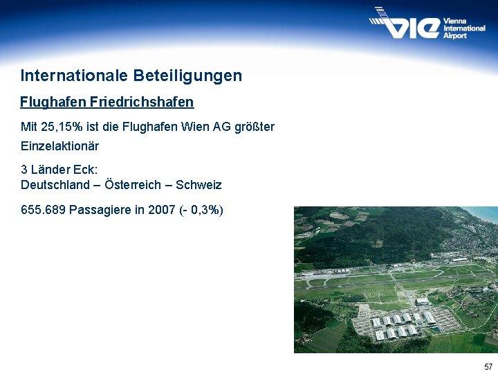 Internationale Beteiligungen Flughafen Friedrichshafen Mit 25, 15% ist die Flughafen Wien AG größter Einzelaktionär