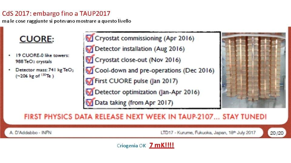 Cd. S 2017: embargo fino a TAUP 2017 ma le cose raggiunte si potevano