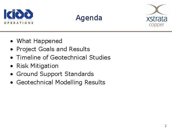 Agenda • • • What Happened Project Goals and Results Timeline of Geotechnical Studies