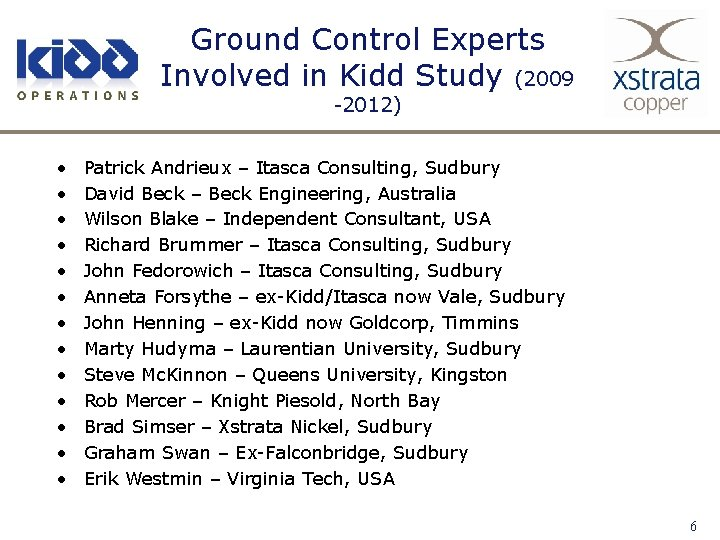 Ground Control Experts Involved in Kidd Study (2009 -2012) • • • • Patrick