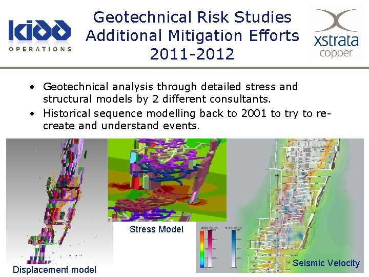 Geotechnical Risk Studies Additional Mitigation Efforts 2011 -2012 • Geotechnical analysis through detailed stress