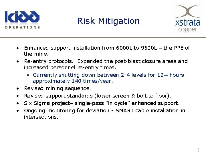 Risk Mitigation • Enhanced support installation from 6000 L to 9500 L – the
