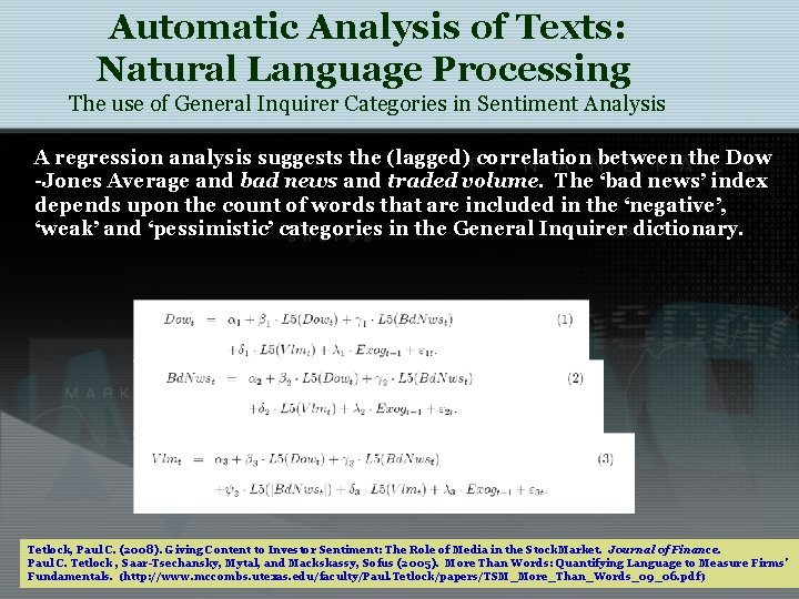 Automatic Analysis of Texts: Natural Language Processing The use of General Inquirer Categories in