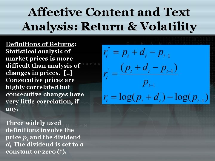 Affective Content and Text Analysis: Return & Volatility Definitions of Returns: Statistical analysis of