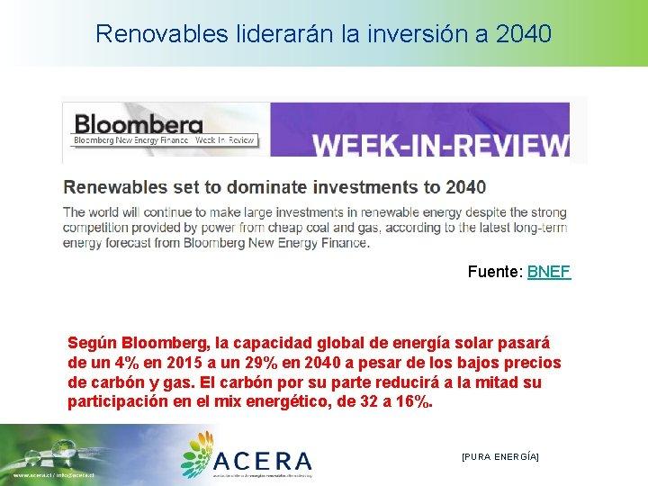 Renovables liderarán la inversión a 2040 Fuente: BNEF Según Bloomberg, la capacidad global de