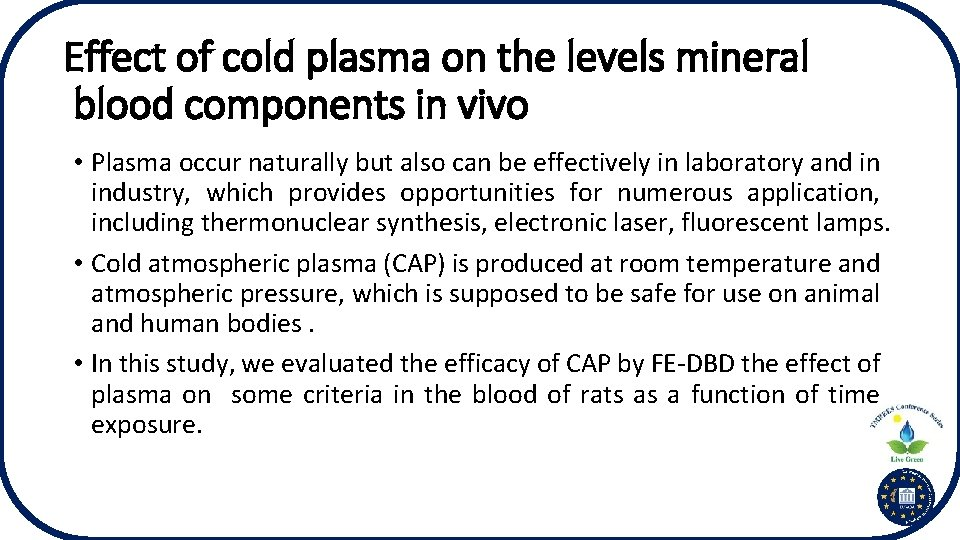 Effect of cold plasma on the levels mineral blood components in vivo • Plasma
