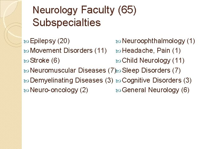 Neurology Faculty (65) Subspecialties Epilepsy (20) Neuroophthalmology (1) Movement Disorders (11) Headache, Pain (1)