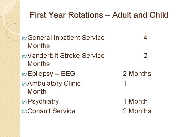 First Year Rotations – Adult and Child General Inpatient Service Months Vanderbilt Stroke Service