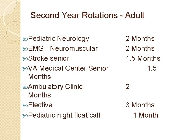 Second Year Rotations - Adult Pediatric Neurology EMG - Neuromuscular Stroke senior VA Medical
