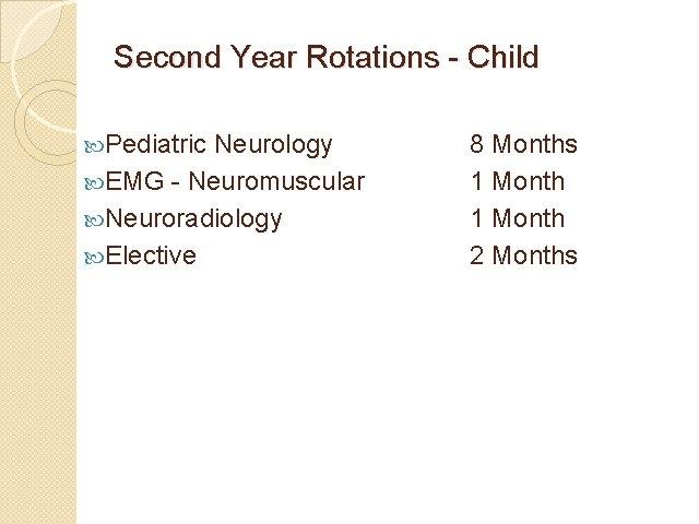 Second Year Rotations - Child Pediatric Neurology EMG - Neuromuscular Neuroradiology Elective 8 Months