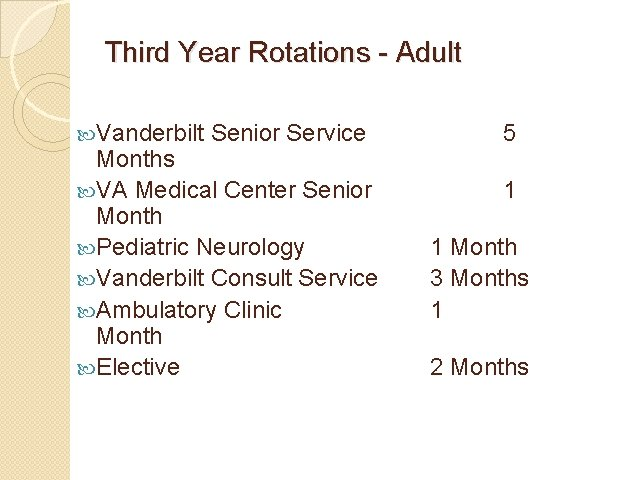 Third Year Rotations - Adult Vanderbilt Senior Service Months VA Medical Center Senior Month