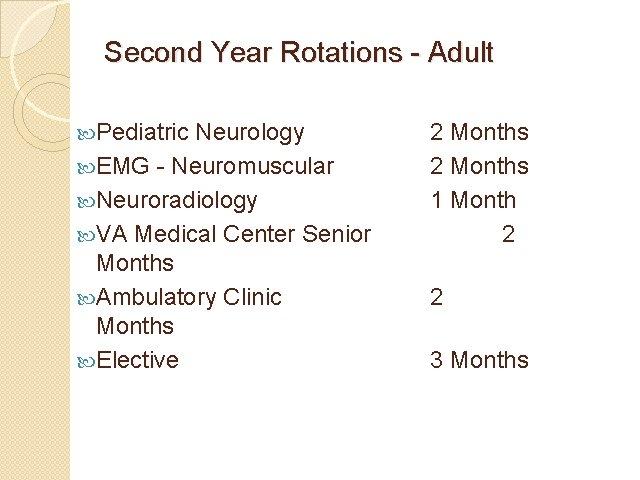 Second Year Rotations - Adult Pediatric Neurology EMG - Neuromuscular Neuroradiology VA Medical Center