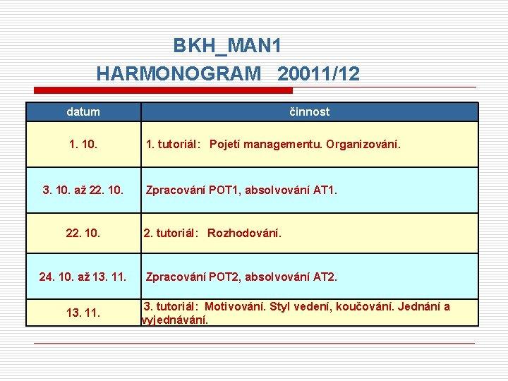 BKH_MAN 1 HARMONOGRAM 20011/12 datum 1. 10. 3. 10. až 22. 10. 24. 10.