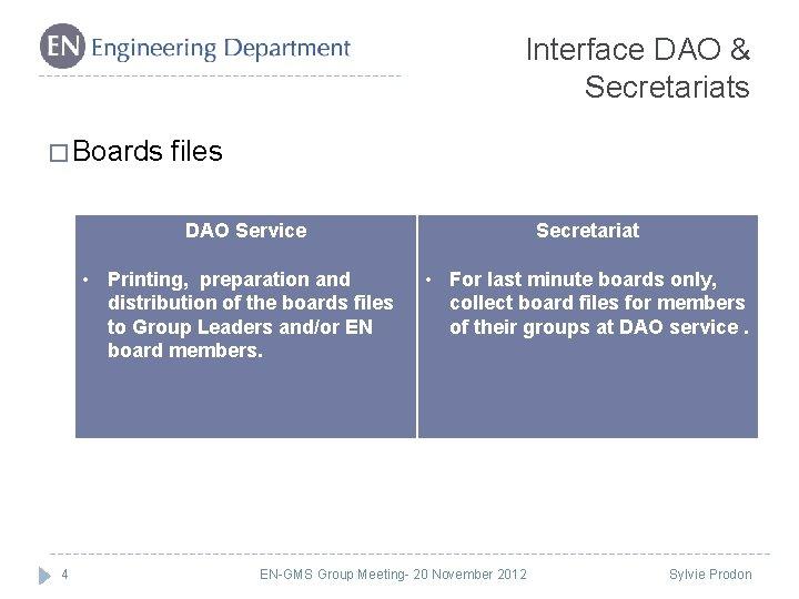 Interface DAO & Secretariats � Boards files DAO Service • Printing, preparation and distribution