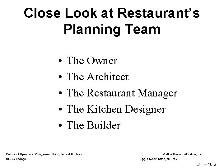 Close Look at Restaurant's Planning Team • • • The Owner The Architect The