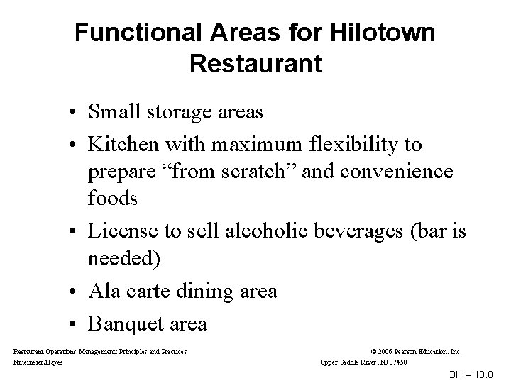 Functional Areas for Hilotown Restaurant • Small storage areas • Kitchen with maximum flexibility
