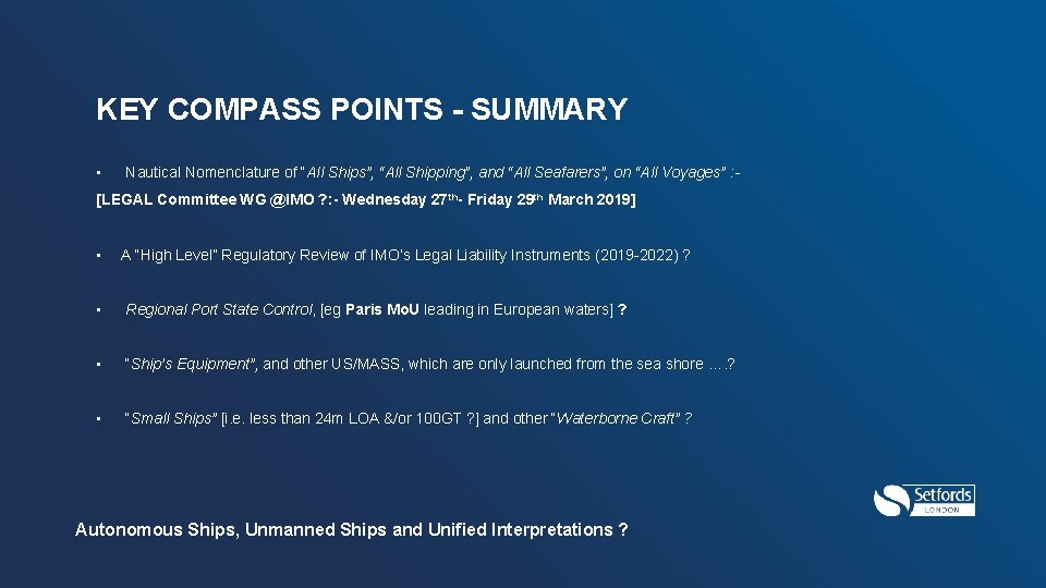 """KEY COMPASS POINTS - SUMMARY • Nautical Nomenclature of """"All Ships"""", """"All Shipping"""", and"""
