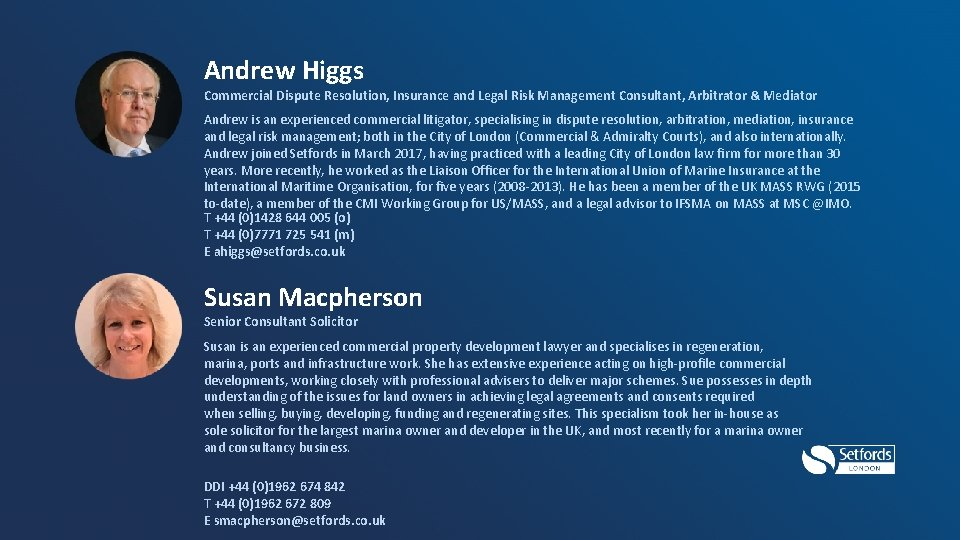 Andrew Higgs Commercial Dispute Resolution, Insurance and Legal Risk Management Consultant, Arbitrator & Mediator