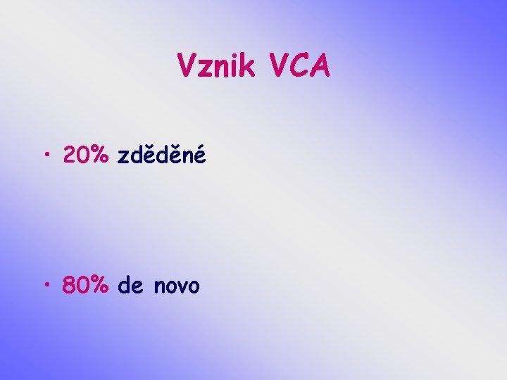 Vznik VCA • 20% zděděné • 80% de novo