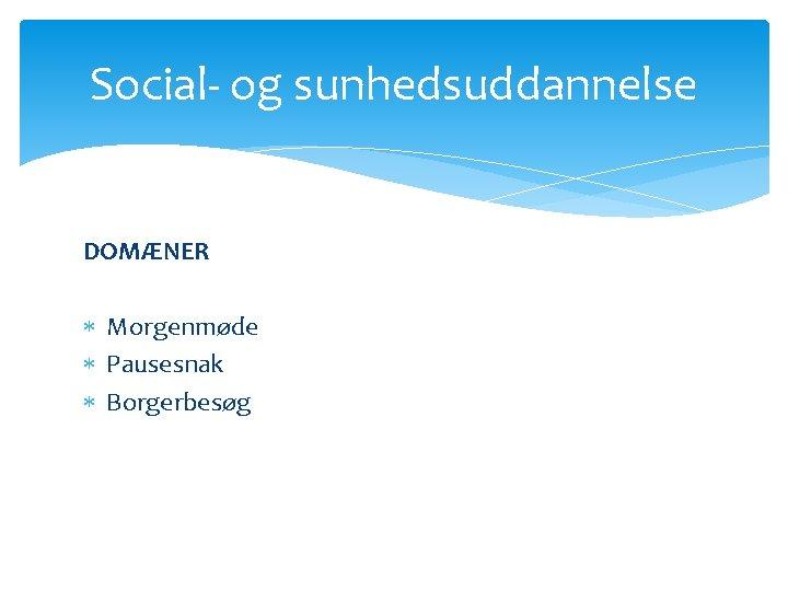 Social- og sunhedsuddannelse DOMÆNER Morgenmøde Pausesnak Borgerbesøg