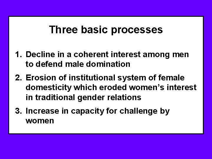 Three basic processes 1. Decline in a coherent interest among men to defend male