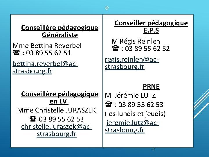 Conseillère pédagogique Généraliste Mme Bettina Reverbel : 03 89 55 62 51 bettina.