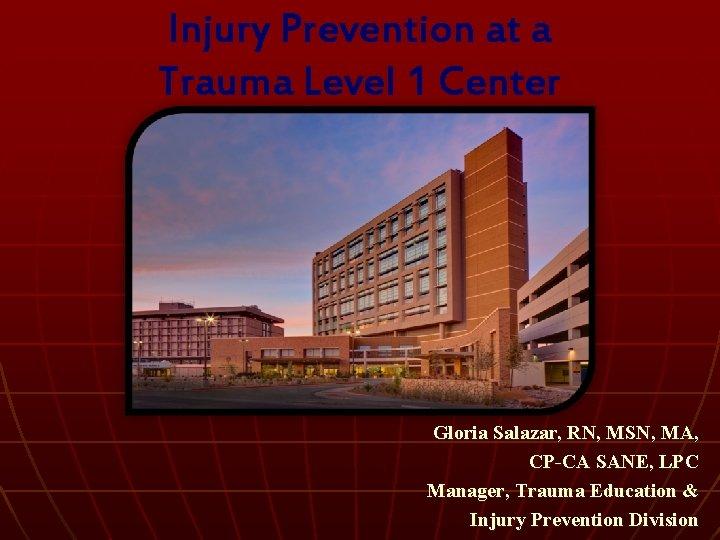 Injury Prevention at a Trauma Level 1 Center Gloria Salazar, RN, MSN, MA, CP-CA