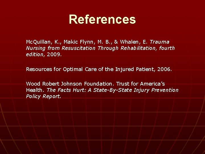 References Mc. Quillan, K. , Makic Flynn, M. B. , & Whalen, E. Trauma