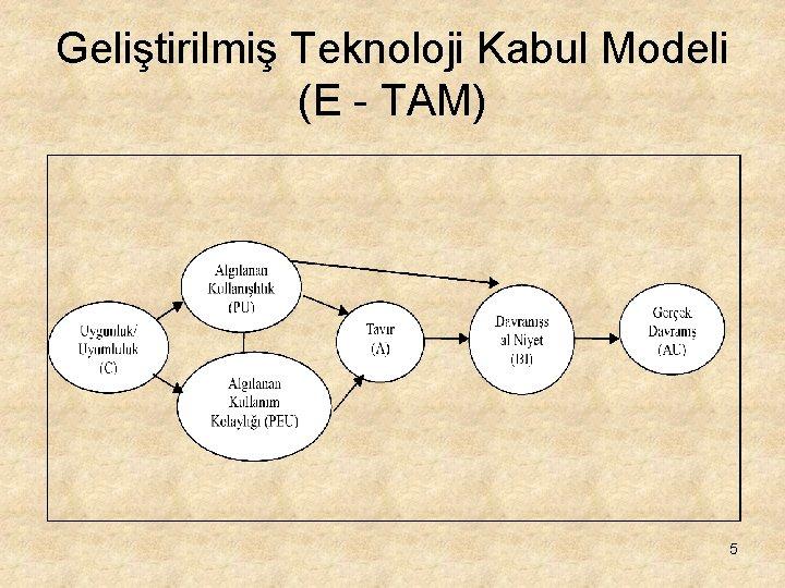 Geliştirilmiş Teknoloji Kabul Modeli (E - TAM) 5