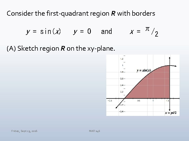 Consider the first-quadrant region R with borders y = sin(x) y = 0 and