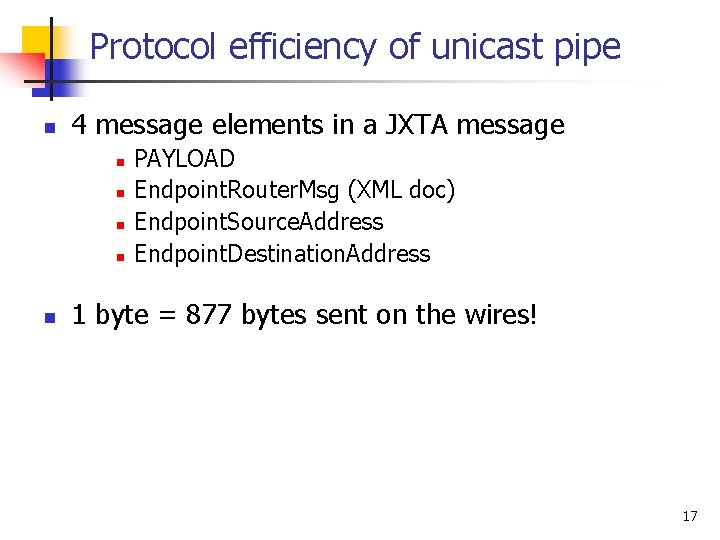 Protocol efficiency of unicast pipe n 4 message elements in a JXTA message n