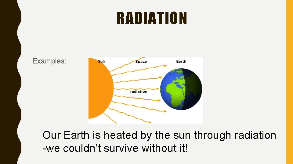 RADIATION Examples: Our Earth is heated by the sun through radiation -we couldn't survive