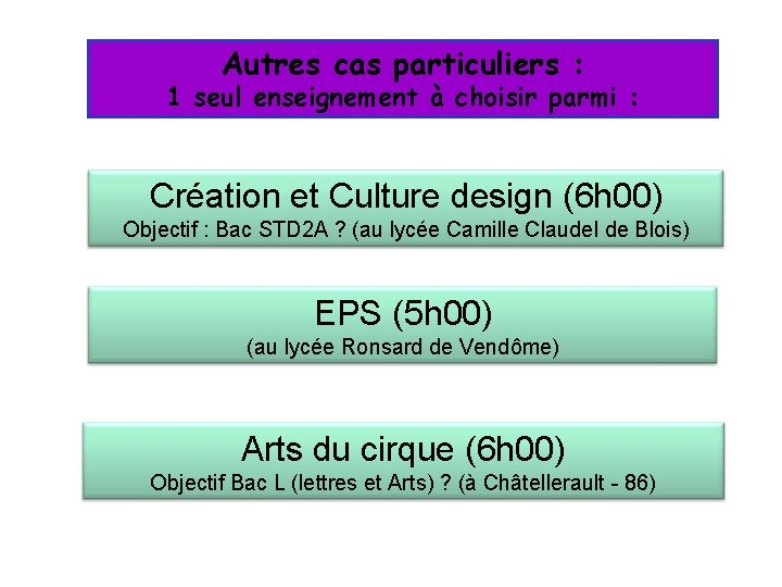 Autres cas particuliers : 1 seul enseignement à choisir parmi : Création et Culture