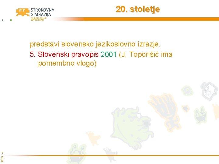 20. stoletje © TŠC Kranj predstavi slovensko jezikoslovno izrazje. 5. Slovenski pravopis 2001 (J.