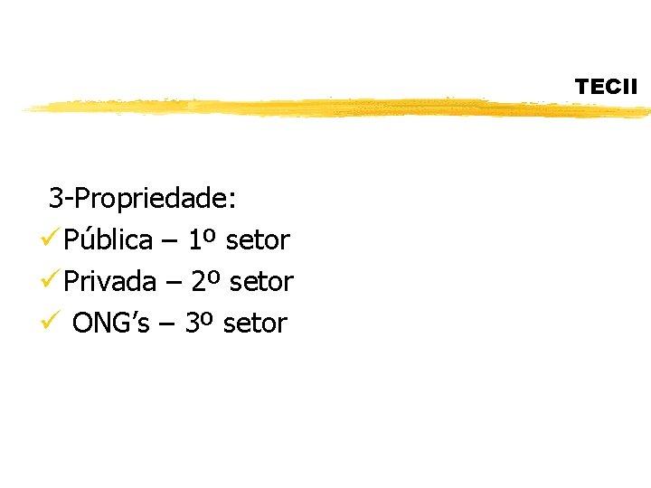 TECII 3 -Propriedade: ü Pública – 1º setor ü Privada – 2º setor ü