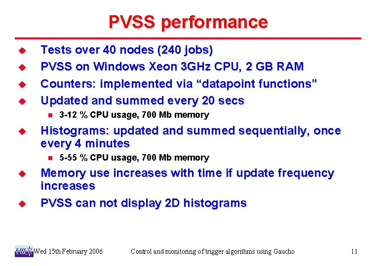 PVSS performance u u Tests over 40 nodes (240 jobs) PVSS on Windows Xeon
