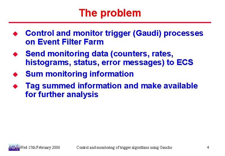 The problem u u Control and monitor trigger (Gaudi) processes on Event Filter Farm