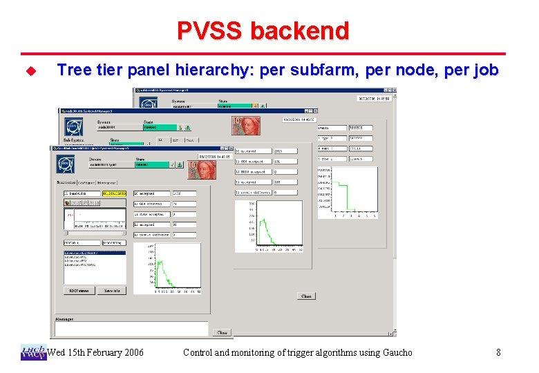 PVSS backend u Tree tier panel hierarchy: per subfarm, per node, per job Wed