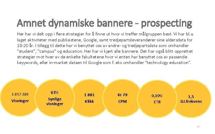 Amnet dynamiske bannere - prospecting Her har vi delt opp i flere strategier for