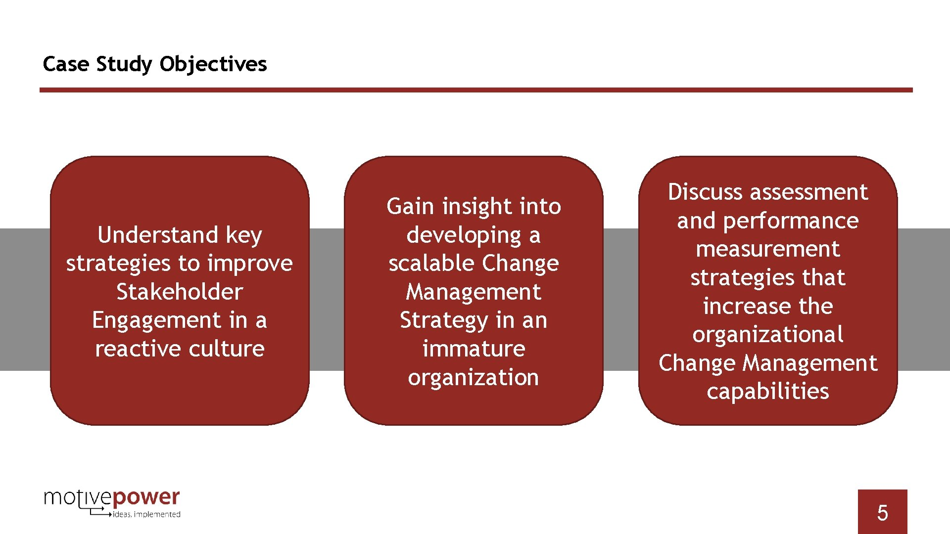 Case Study Objectives Understand key strategies to improve Stakeholder Engagement in a reactive culture