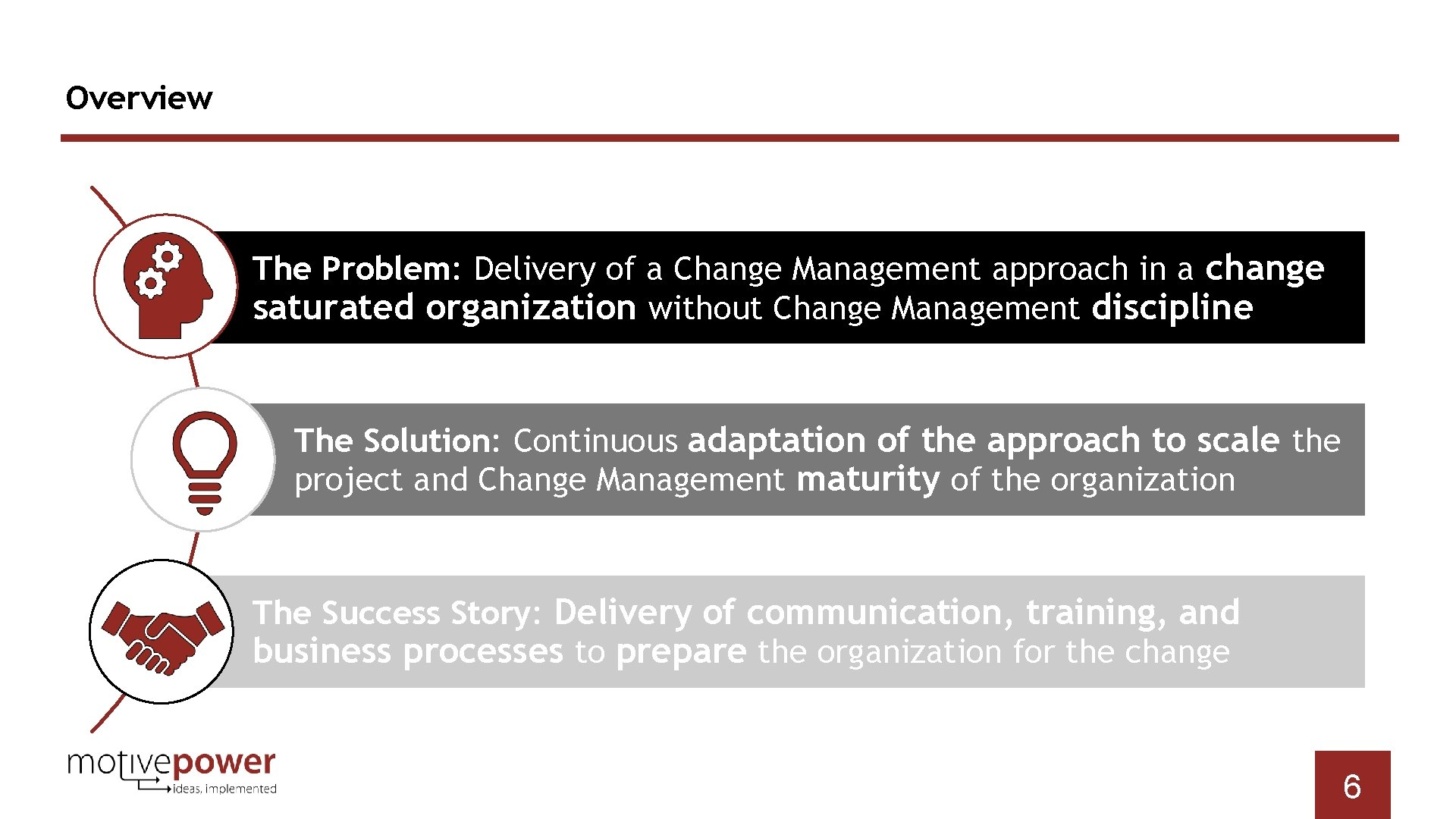 Overview The Problem: Delivery of a Change Management approach in a change saturated organization