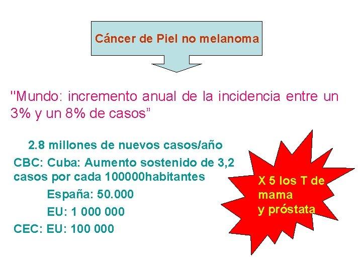 """Cáncer de Piel no melanoma """"Mundo: incremento anual de la incidencia entre un 3%"""