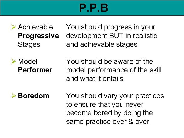 P. P. B Ø Achievable Progressive Stages You should progress in your development BUT