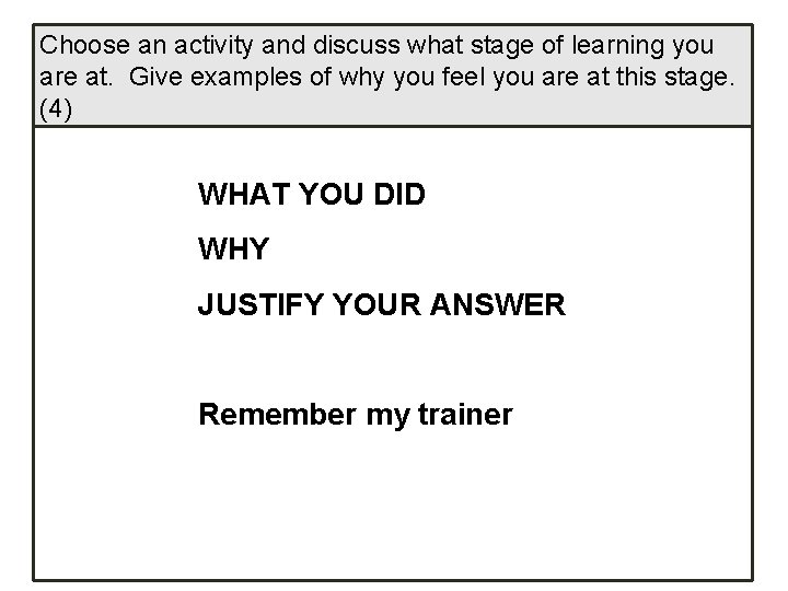 Choose an activity and discuss what stage of learning you are at. Give examples