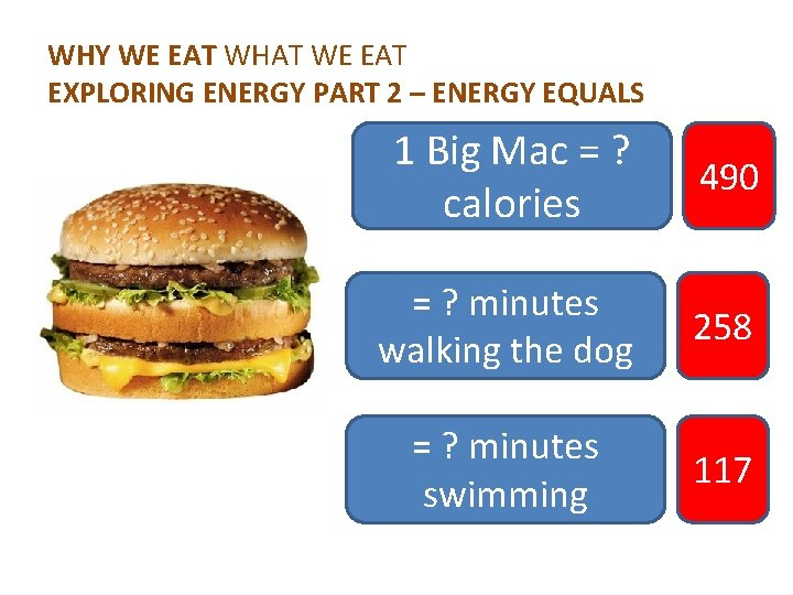 WHY WE EAT WHAT WE EAT EXPLORING ENERGY PART 2 – ENERGY EQUALS 1